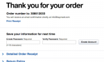 Crate & Barrel offers optional account creation on the order confirmation page